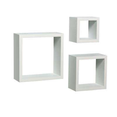 9 in. W x 4 in. D Wall Mounted White Shadow Box Decorative Shelf Kit (3-Piece)