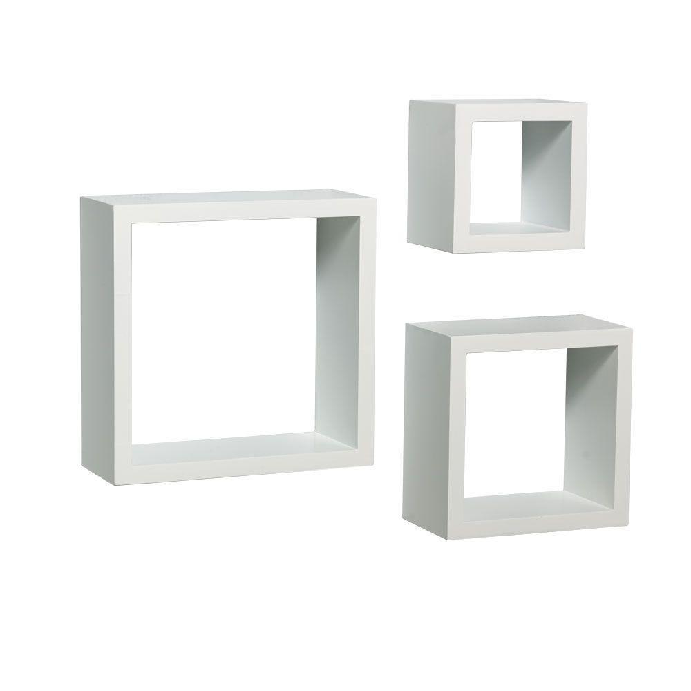 9 in. W x 4 in. D Wall Mounted White Shadow Box Decorative Shelf Kit (3-Piece)