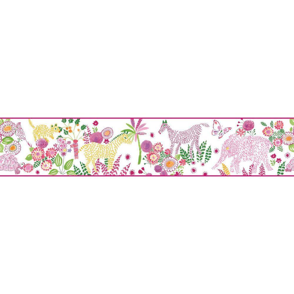YORK Waverly Kids Day Dream Wallpaper Border, White/Pink/...
