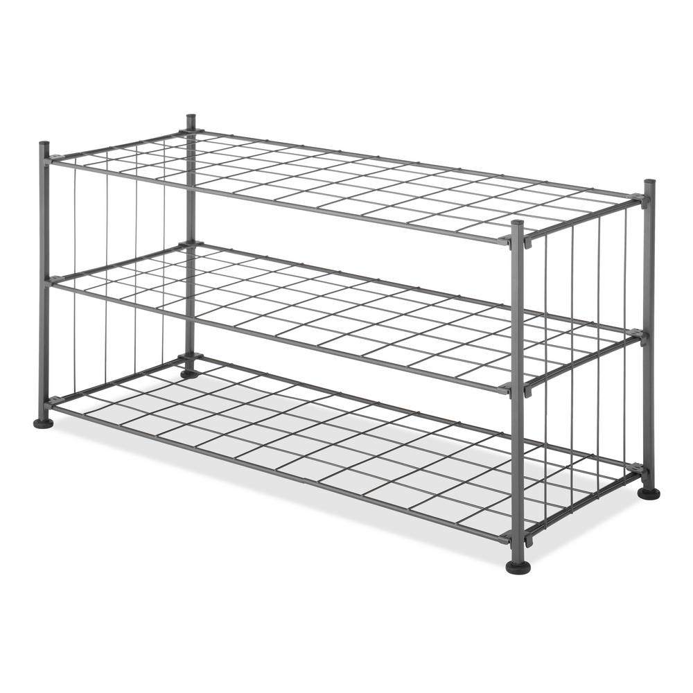 whitmor 11 5 in h x 14 3 in w x 29 5 grid 3 tier wire shelving in gunmetal gray 69055916 the. Black Bedroom Furniture Sets. Home Design Ideas
