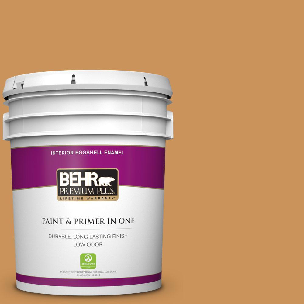 BEHR Premium Plus 5 gal. #M250-5 Burnt Pumpkin Eggshell Enamel Low Odor Interior Paint and Primer in One
