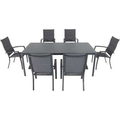 Mesa 7-Piece Aluminum Outdoor Dining Set with 6-Padded Sling Chairs and a 43 in. x 82 in. Glass-Top Table