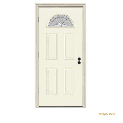 32 in. x 80 in. Fan Lite Langford Vanilla Painted Steel Prehung Right-Hand Outswing Front Door w/Brickmould