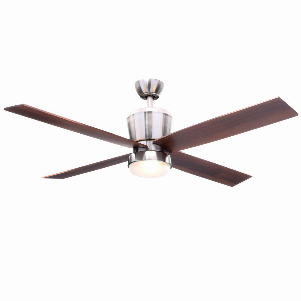 Hampton Bay Trusseau 52 In Indoor Brushed Nickel Ceiling Fan With Light Kit And Remote Control