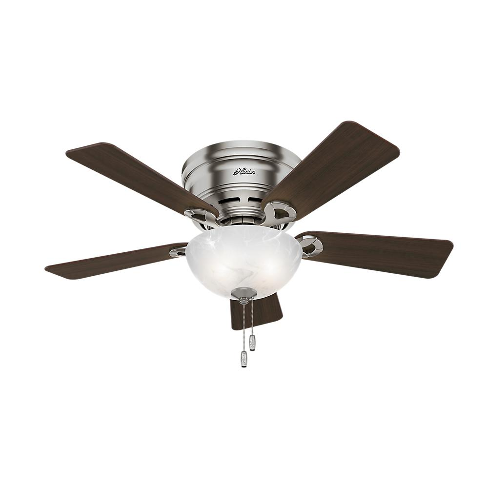 dc6d184ffc2 Hunter Haskell 42 in. Low Profile Indoor Brushed Nickel Ceiling Fan ...