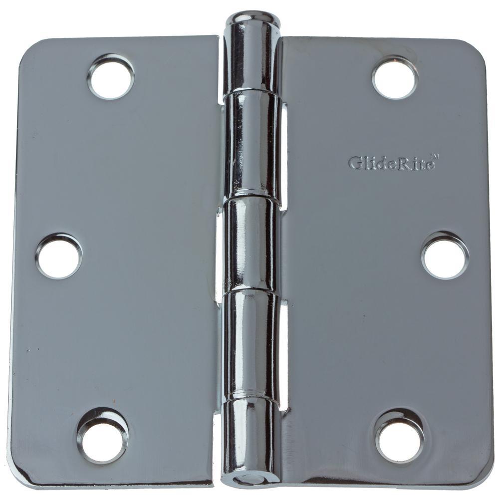 3-1/2 in. Polished Chrome Steel Door Hinges 1/4 in. Corner Radius with Screws (24-Pack)