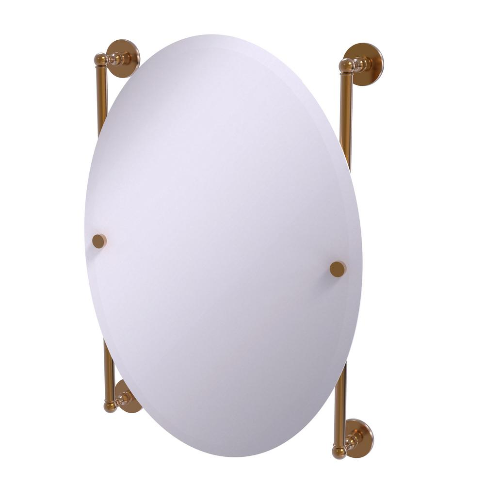 Prestige Skyline Collection Oval Frameless Rail Mounted Mirror in Brushed Bronze