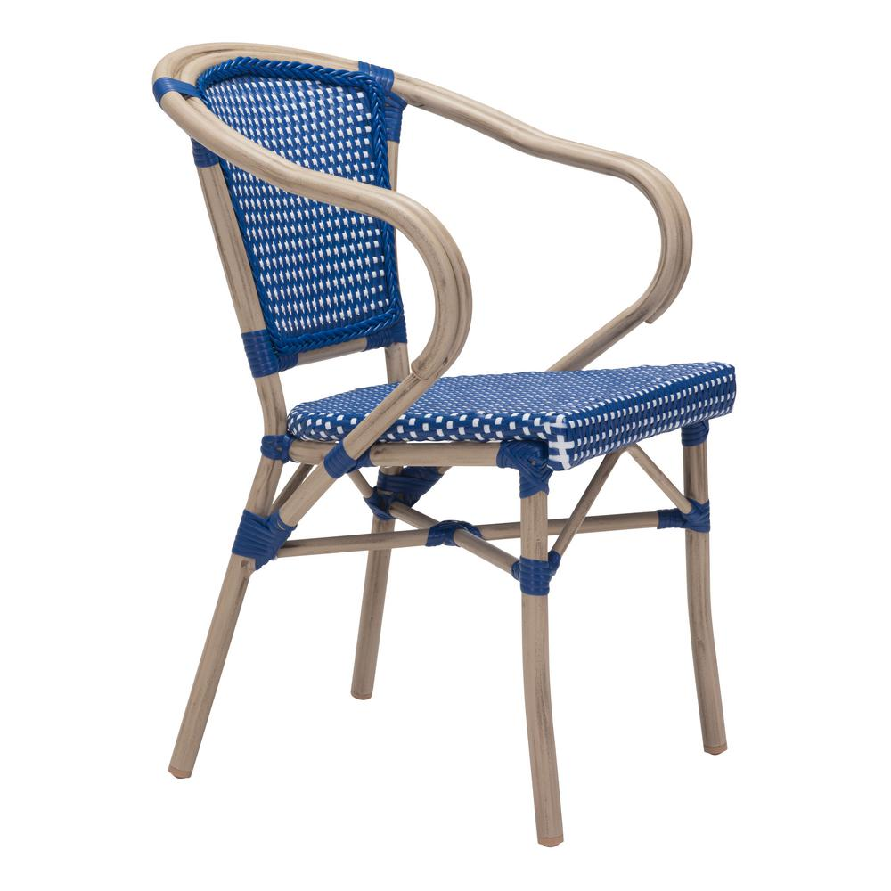 Zuo Paris Metal Outdoor Patio Dining Chair In Navy Blue And White Pack Of 2