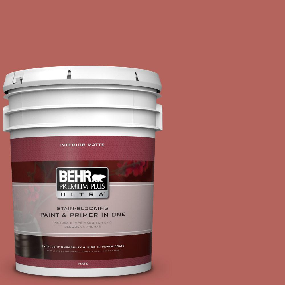BEHR Premium Plus Ultra 5 gal. #180D-6 Mineral Red Flat/Matte Interior Paint