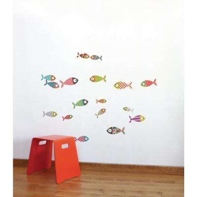 """(38.9 in x 30.4 in) Multi-Color """"Small Fish"""" Kids Wall Decal"""