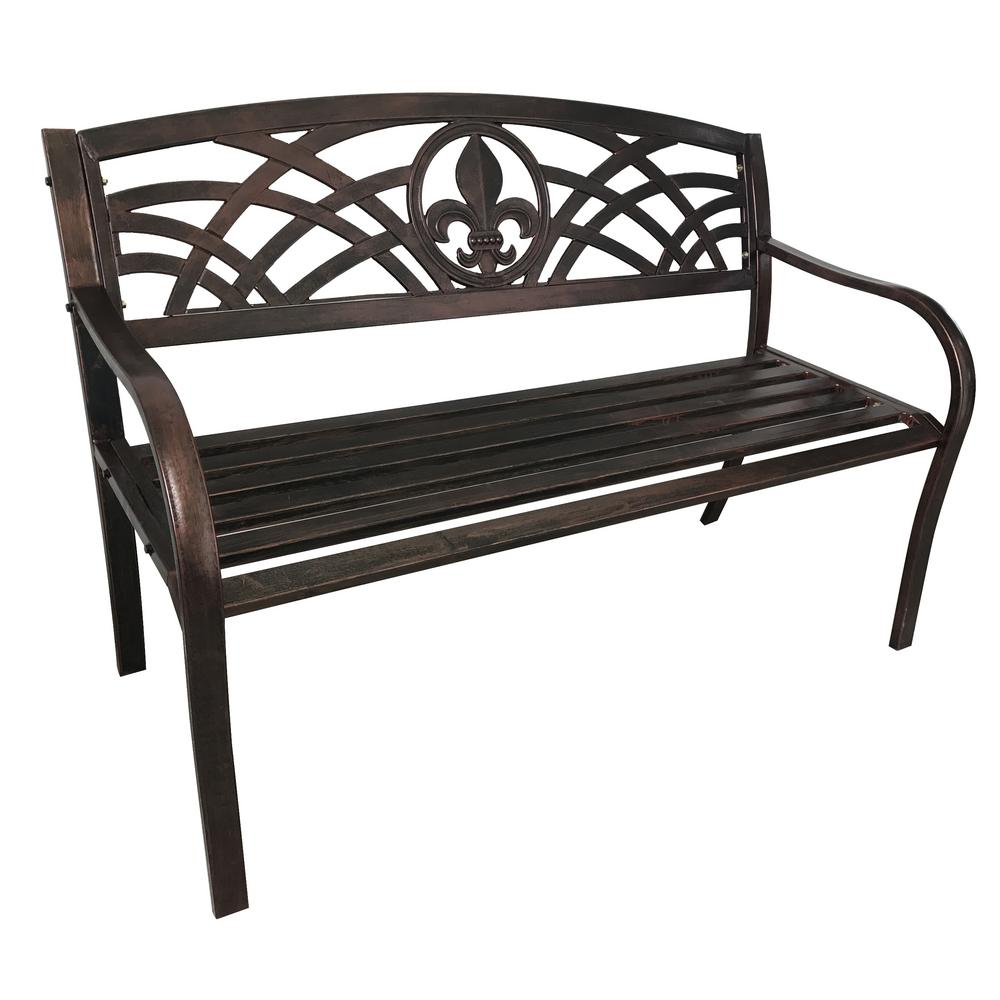 Patio Bronze Fleur de Lis Metal Outdoor Bench