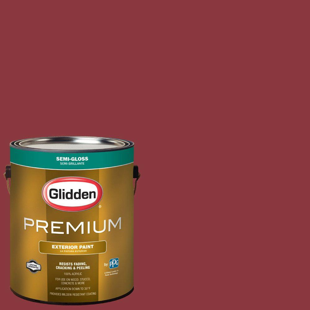 Glidden Premium 1 Gal Hdgr51 Red Delicious Semi Gloss Latex Exterior Paint