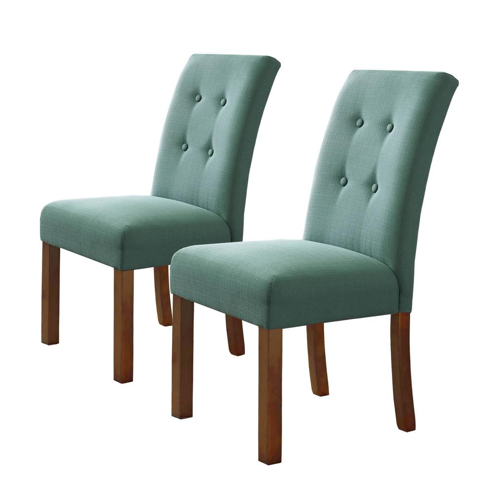 Beau Homepop 4 Button Teal Tufted Aqua Textured Parson Chairs