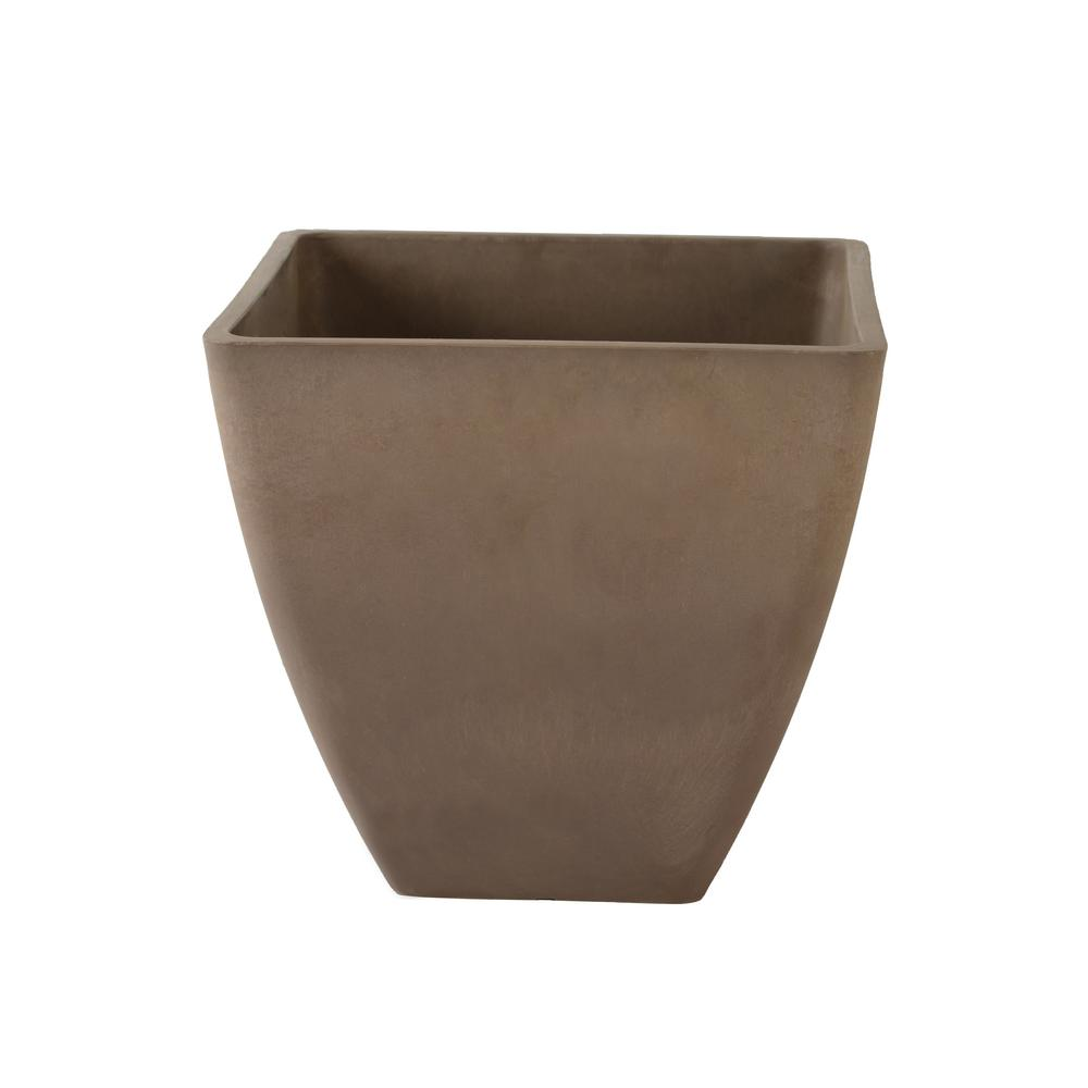 Arcadia Garden Products Simplicity Square 16 in. x 16 in. x 13 in. Taupe PSW Pot