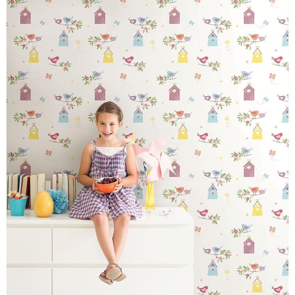 White Birdhouses Wallpaper