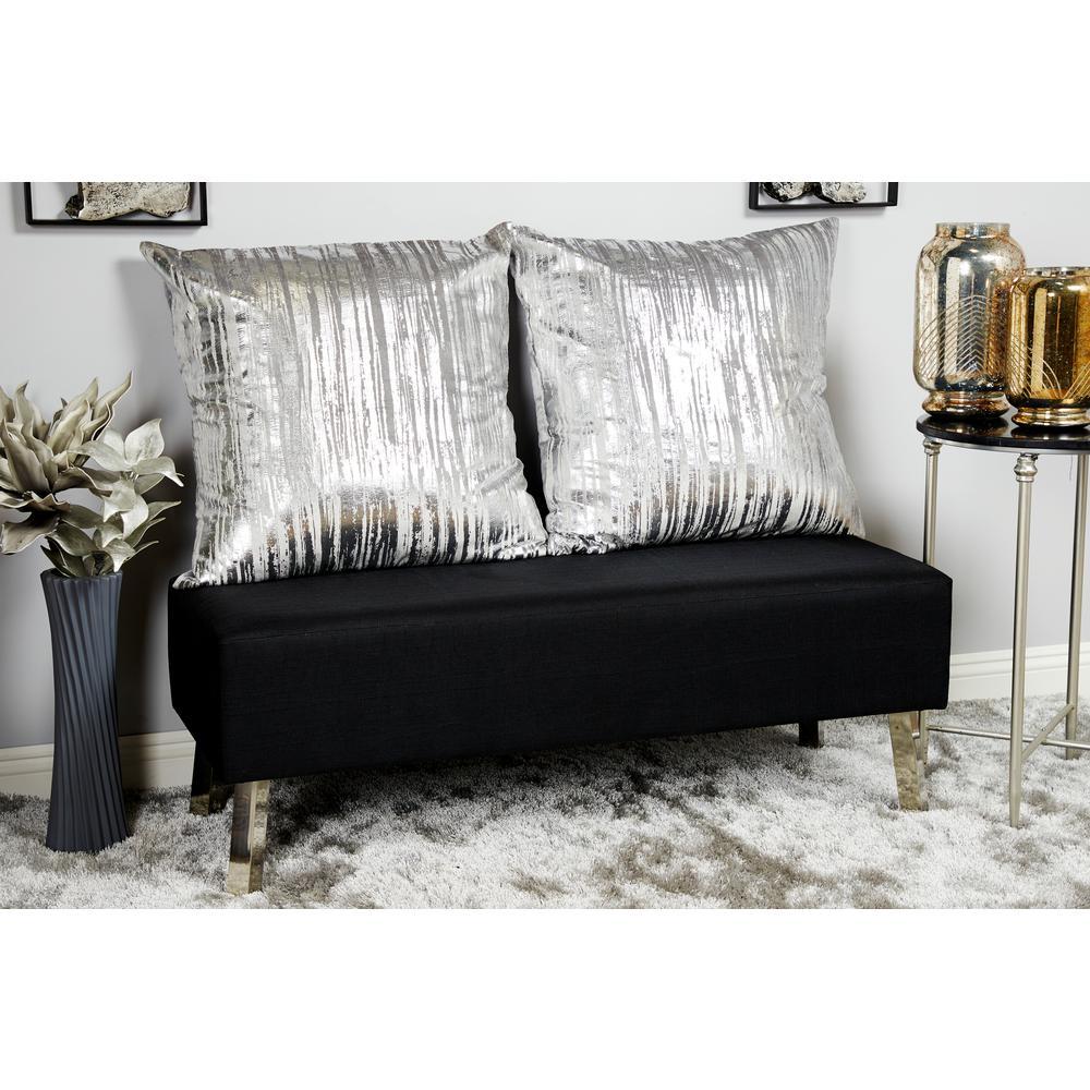 26 in. x 26 in. Stripe Brushstroke-Designed Silver Polyester Standard Throw Pillow