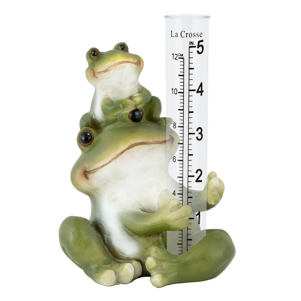 5 in. Tablestanding Polyresin Frog Rain Gauge