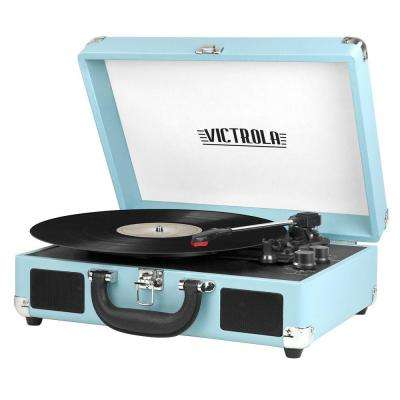 3-Speed Suitcase Turntable with Bluetooth in Turquoise