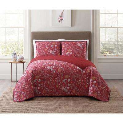 Bedford Red King Quilt Set