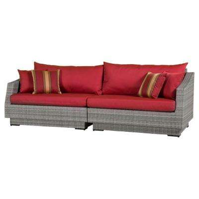 Cannes 2-Piece Patio Sofa with Cantina Red Cushions