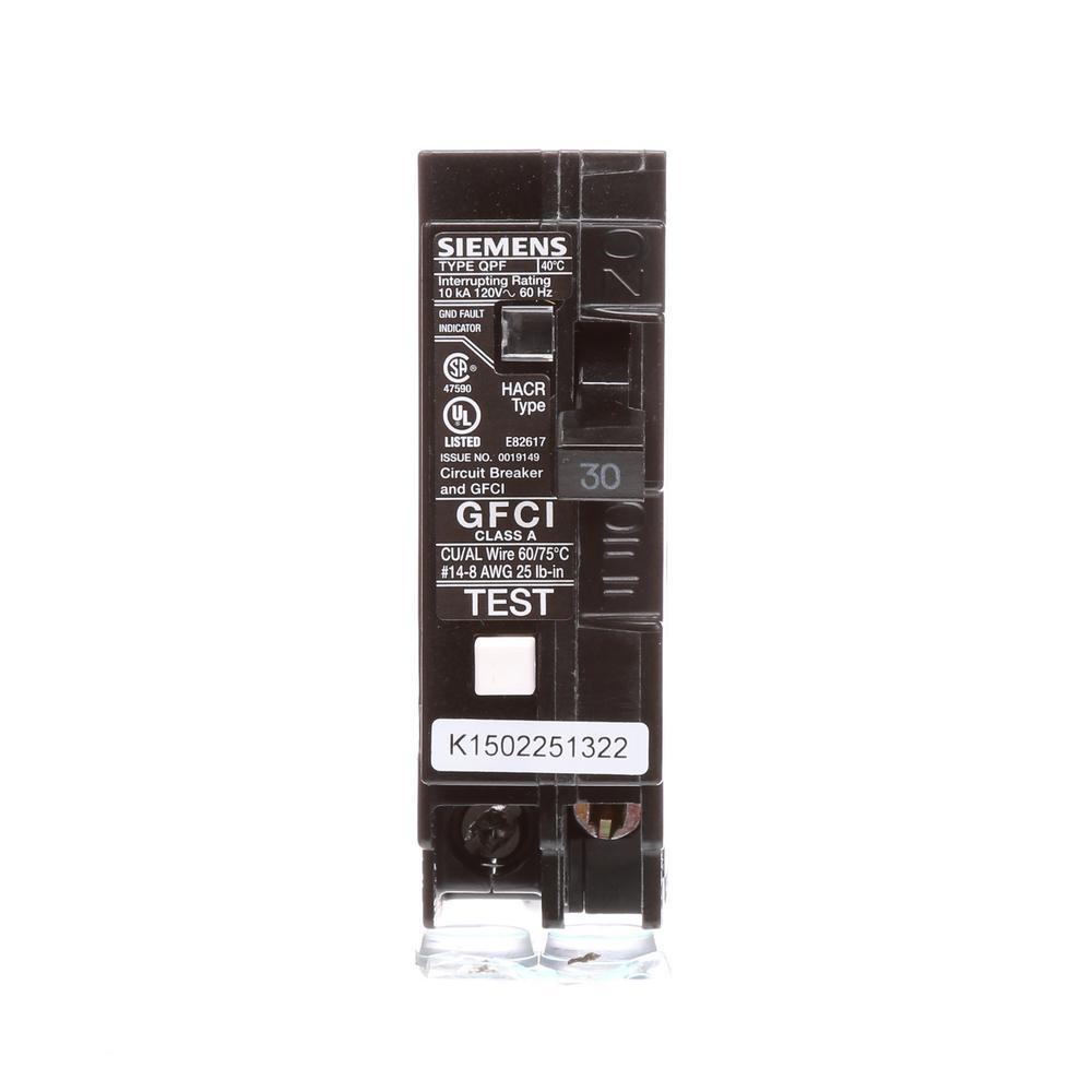 30 Amp Single-Pole Type QPF2 GFCI Circuit Breaker