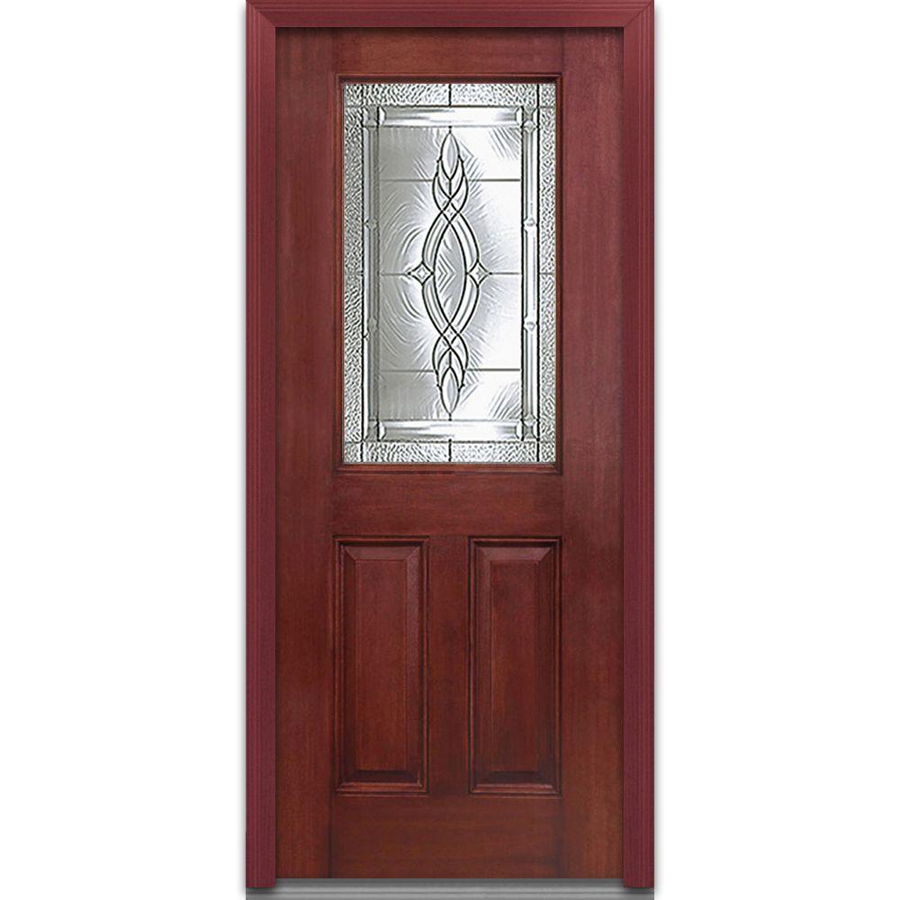 MMI Door 36 in. x 80 in. Brentwood Left-Hand 1/2 Lite 2-Panel Classic Stained Fiberglass Mahogany Prehung Front Door