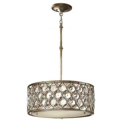 Lucia 18.625 in. W 3-Light Burnished Silver Pendant with Linen Drum Shade and Sunflower Shape Bauhinia Crystals