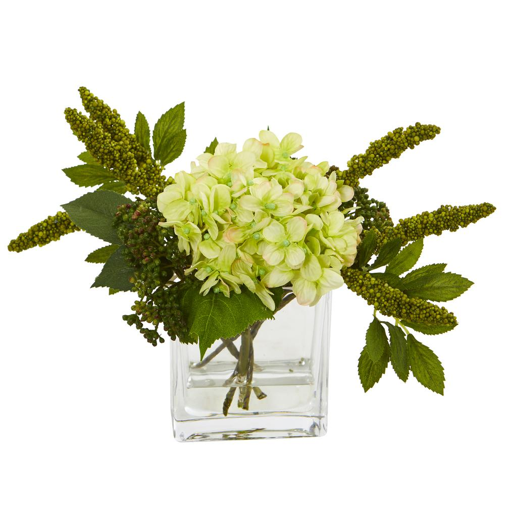 Nearly Natural Hydrangea Artificial Arrangement In Vase Set Of 2 4314 S2 Gr The Home Depot