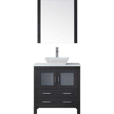 Dior 33 in. W Bath Vanity in Zebra Gray with Stone Vanity Top in White with Square Basin and Mirror and Faucet