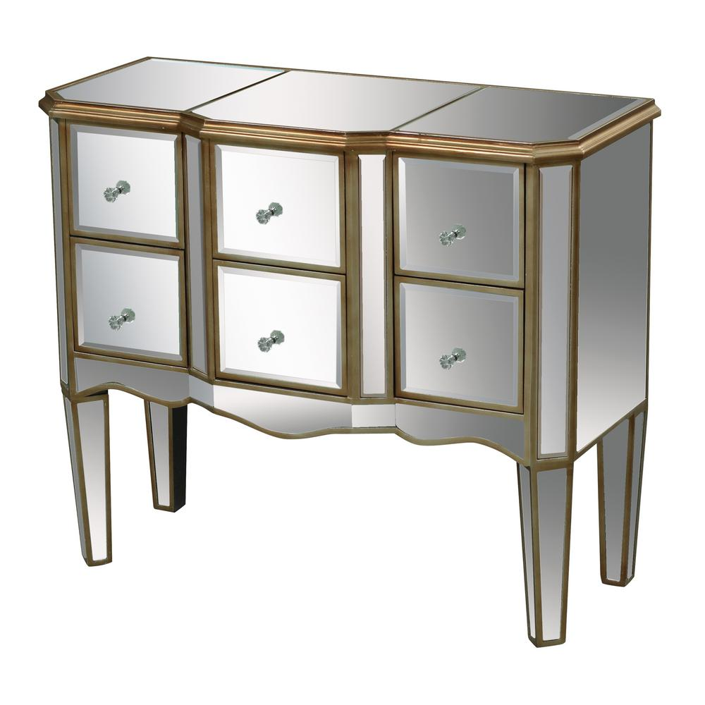Titan Lighting Antwerp 6 Drawer Antique Gold And Clear Mirror Chest