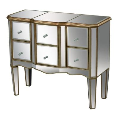 Antwerp 6-Drawer Antique Gold and Clear Mirror Chest