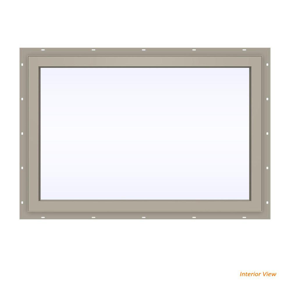 35.5 in. x 23.5 in. V-4500 Series Desert Sand Vinyl Picture Window w/ Low-E 366 Glass
