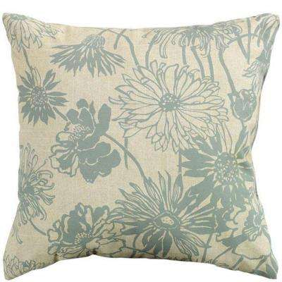 Maystone Blue 20 in. Square Outdoor Throw Pillow