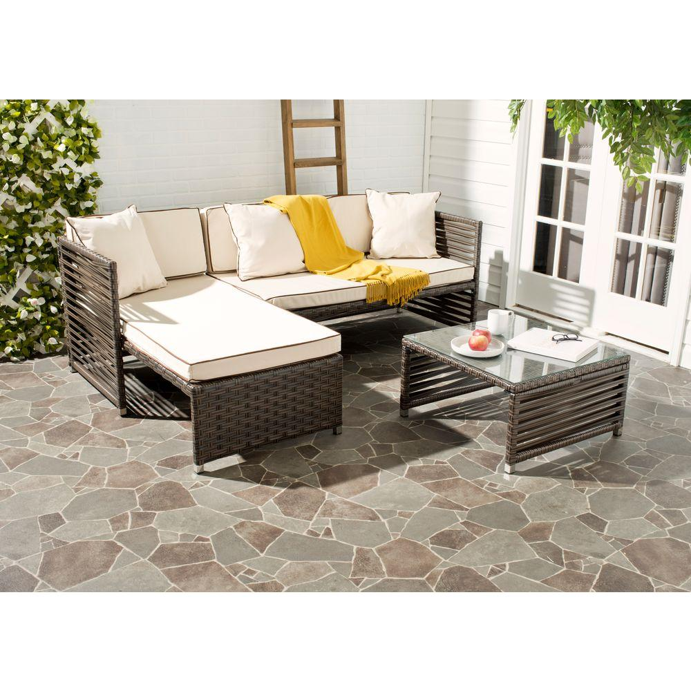Brown Wicker Sectional Seating Set Beige Likoma