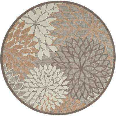 Aloha Patio Natural 5 ft. 3 in. x 5 ft. 3 in. Round Area Rug