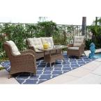 Hampton Bay Belleville Padded Sling 4 Piece Patio Seating Set Fcs80231rst The Home Depot