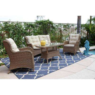 Canterbury 4-Piece Wicker Patio Deep Seating Set with Cream Cushions
