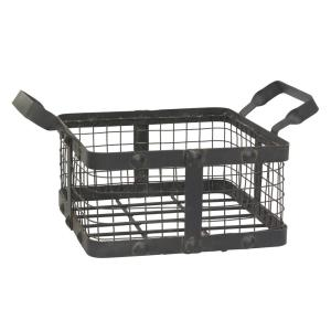 14 in. x 6 in. Graphite and Rust Metal Basket with Rivet Trim