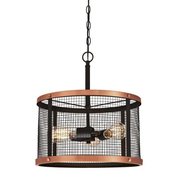 Emmett 3-Light Oil Rubbed Bronze Finish with Washed Copper Accents Pendant