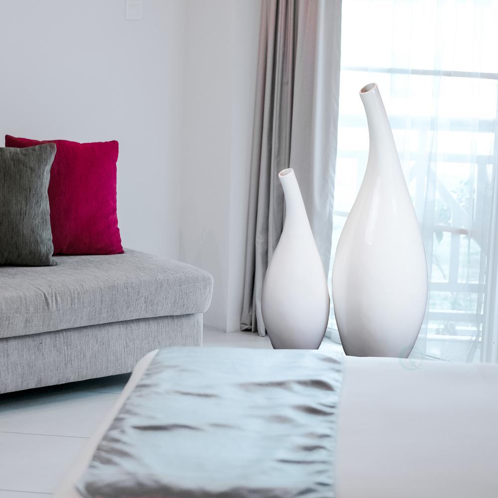 Modern White Abstract Floor Vase Set Of 2
