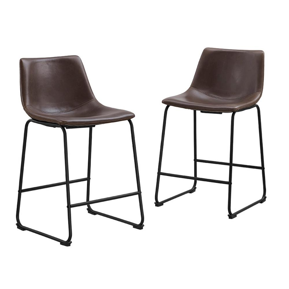 Walker Edison Furniture Company Wasatch 36 In Brown Bar Stools Set