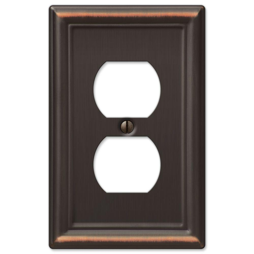 Ascher 1 Duplex Outlet Plate - Aged Bronze Stamped