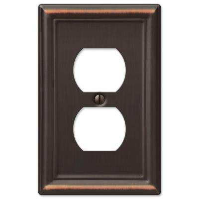 Ascher 1 Duplex Outlet Plate - Oil-Rubbed Bronze Stamped