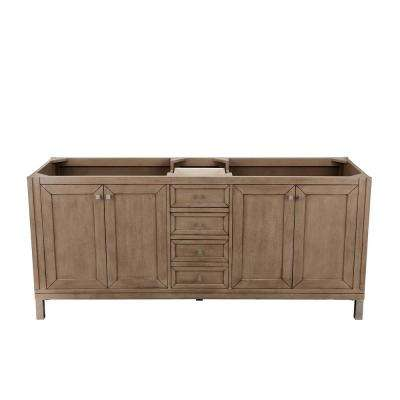 Chicago 72 in. W Double Bath Vanity Cabinet Only in Whitewashed Walnut