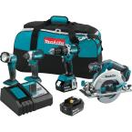 18-Volt LXT Lithium-Ion Brushless Cordless Combo Kit Hammer Drill/ Impact Driver/ Circular Saw/ Flashlight