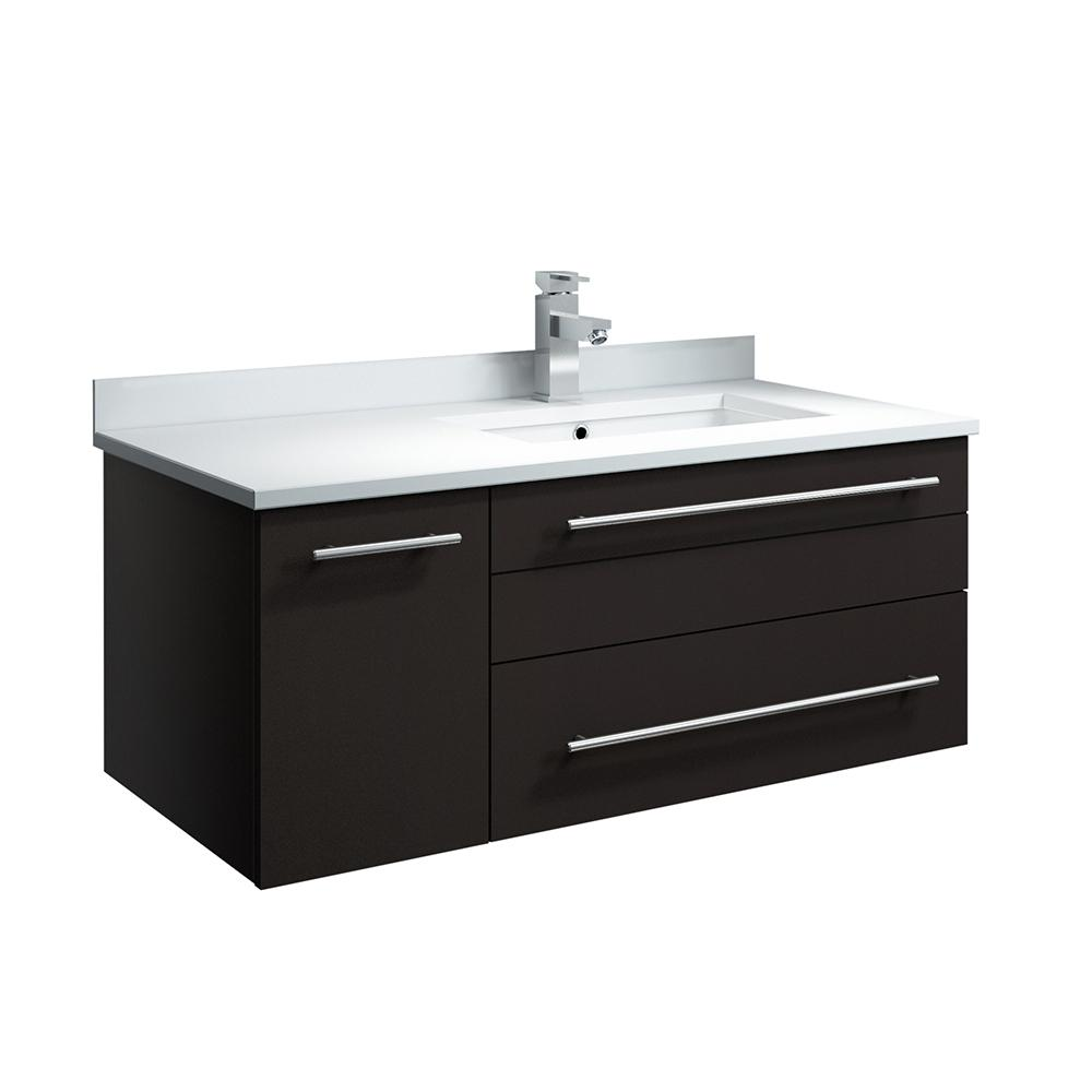 Fresca Lucera 36 in. W Wall Hung Bath Vanity in Espresso with Quartz Stone Vanity Top in White with White Basin