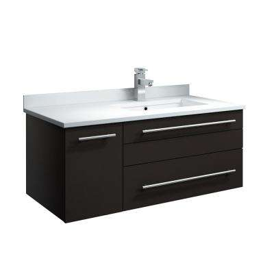 Lucera 36 in. W Wall Hung Bath Vanity in Espresso with Quartz Stone Vanity Top in White with White Basin