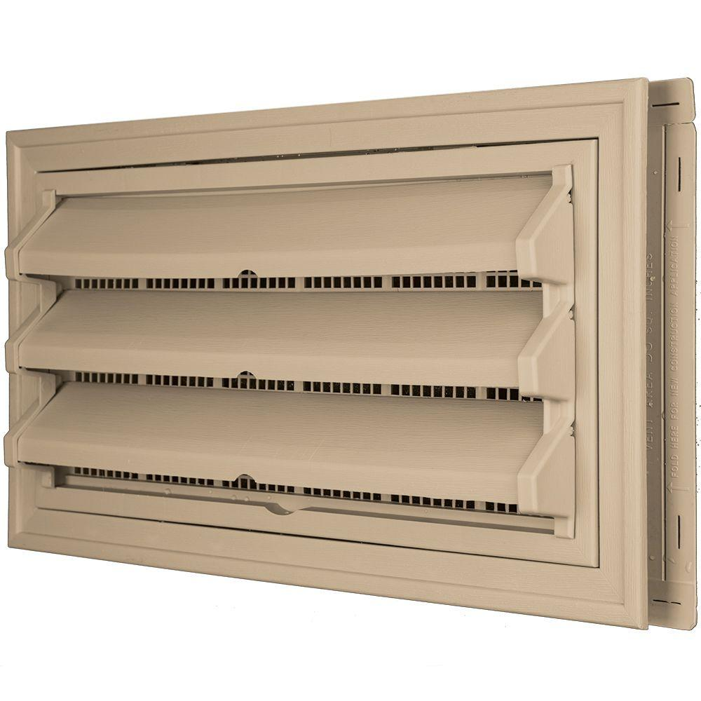 Builders Edge 9-3/8 in. x 17-1/2 in. Foundation Vent Kit with Trim Ring and Optional Fixed Louvers (Galvanized Screen) in #069 Tan