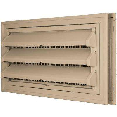 9-3/8 in. x 17-1/2 in. Foundation Vent Kit with Trim Ring and Optional Fixed Louvers (Galvanized Screen) in #069 Tan