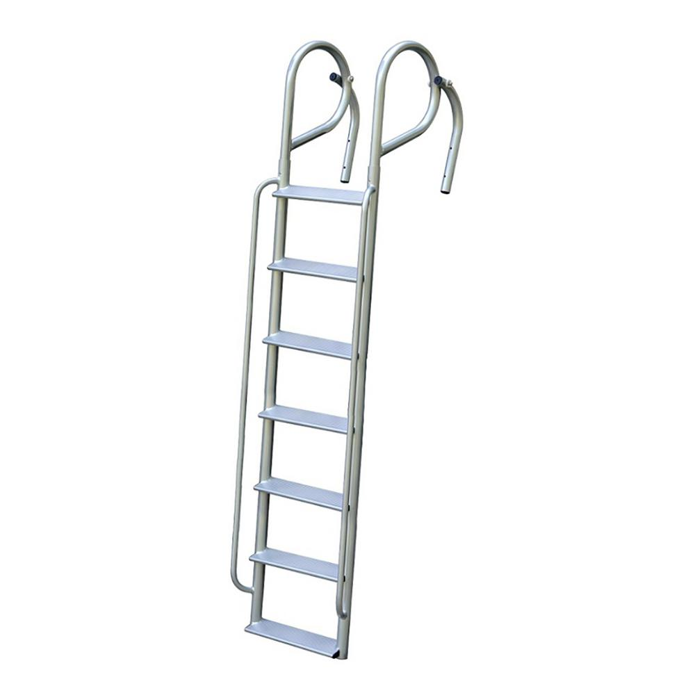 Tommy Docks 7-Rung Wide Step Aluminum Swing Ladder with Handrails
